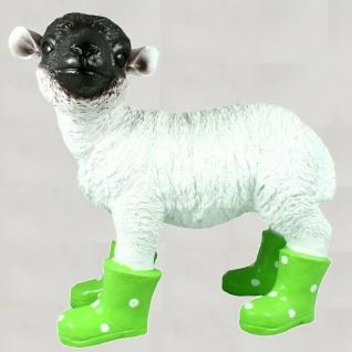 Gartenfigur Lamm mit Gummistiefel Schaf lebensecht Garten Deko Figur grün #3156