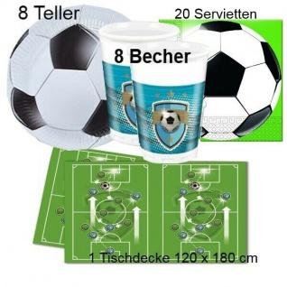 FUSSBALL Taktik Kinder Geburtstag -Teller Becher Servietten Tischdecke - 37 tlg