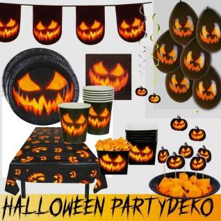 Grusel Deko Kürbis Halloween Party Dekoration -Teller Becher Girlande Luftballon