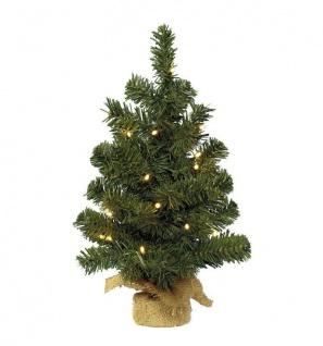 10 LED Weihnachtsbaum Christbaum grün künstliche Tanne Tannenbaum Jute-Fuß 45 cm
