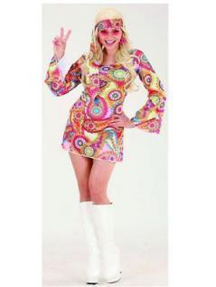 DISCO GIRL KLEID Mandy Retro Hippie Damen Kostüm 70er 80er Jahre 7617