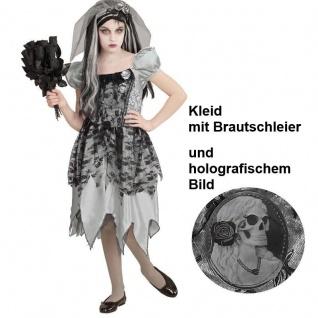 GEISTERBRAUT Kinder Kostüm Gr 128 Kleid mit Brautschleier Halloween Mädchen #466