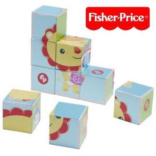 Fisher-Price Tierische Holz Puzzle Klötze - Bilderwürfel mit 6 Tiermotiven
