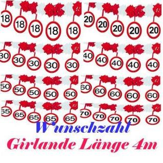 GIRLANDE Verkehrsschild 4 m WUNSCHZAHL Party Deko Jubiläum Geburtstag