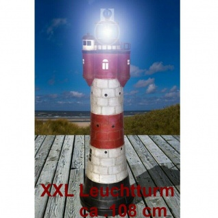 Leuchtturm ROTER SAND LED Solar Licht Garten Deko wetterfest ca 110cm Nordsee