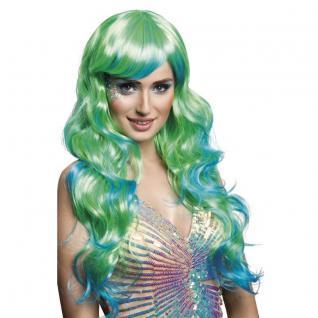 70cm Lange Perücke Aquamarin blau-Grün Meerjungfrau Beauty Sirene Damen Kostüm