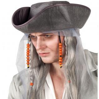Geisterpirat Perücke mit Piratenhut - Halloween Karneval Kostüm Zubehör Haare