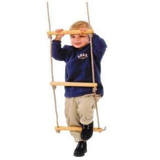 Kinder Holz Strickleiter 5 Sprossen 60 kg Tragkraft ca. 200 cm länge TÜV