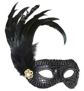 AUGENMASKE SIENA SCHWARZ MIT FEDERN Karneval Venedig Maske Gothic Kostüm 1793