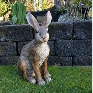 Hase groß Osterhase Garten-Deko Figur lebensecht Polyresin Skulptur #5966