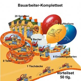 50 tlg. Bauarbeiter - Baustelle Party Set Kinder Geburtstag Teller Becher...