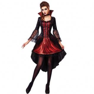 elegante VAMPIRIN Vampir Damen - Kostüm Kleid mit Halskette Antoniella Halloween