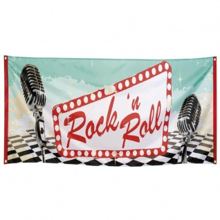 Rock 'n Roll Banner 50er 60er Jahre Deko Wanddeko Fahne 74 x 220cm wetterfest