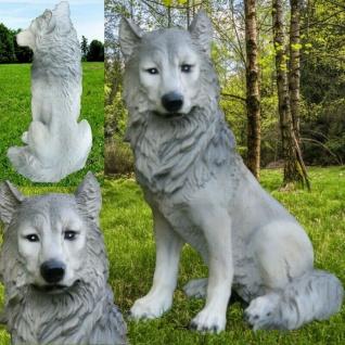 Garten Deko Figur WOLF ISEGRIM HUND Wild Tier lebensecht Tierfigur #3793