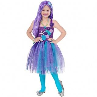 Meerjungfrau Kinder Kostüm Kleid mit Tutu und Haarreif - Gr. 110 - Mädchen #654