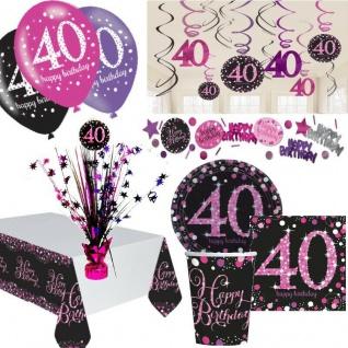 40. Geburtstag Party Deko Set Pink Schwarz Dekoration Jubiläum Feier Zahl 40