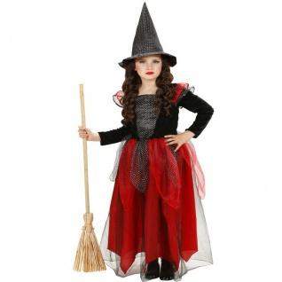 Hexe Kinder Mädchen Kostüm - elegantes Kleid schwarz rot mit Hut - Witch 98-158