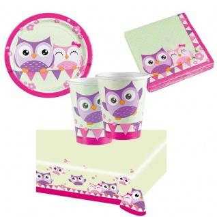 OWL Eule Partyset Becher Servietten Pappteller Tischdecke - Kinder Geburtstag