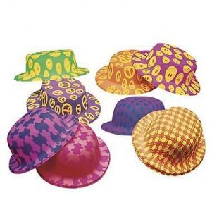 12 x NEON MELONEN Karneval Fasching Hut Hüte 70er Jahre Kostüm (2920)
