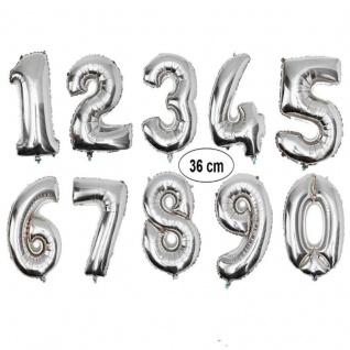 Folienballon SILBER Zahlenballon Luftballon Zahl 0 bis 9 - Geburtstag Jubiläum