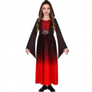 KLEID MIT KAPUZE Mittelalter Mädchen Kinder Kostüm Gothic Vampir Hexe Halloween
