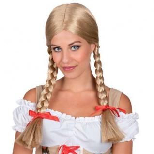 Blonde HEIDI PERÜCKE Zöpfe Party Fasching Karneval lang Langhaarperücke blond