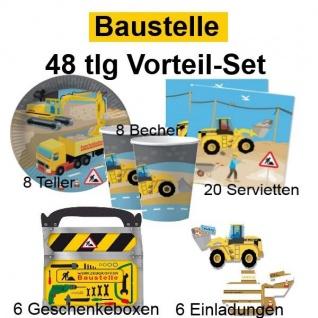 48 tlg. Vorteil-Set BAUSTELLE Kinder Geburtstag Party Deko - Teller Becher -DHK