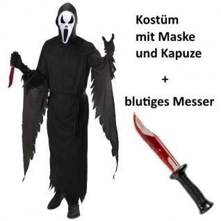 Komplett Set SCHREIENDER GEIST S 48 Herren Kostüm + blutiges MESSER - SCREAM
