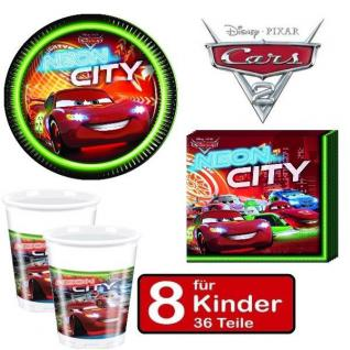 CARS NEON CITY Kinder Geburtstag Party - Teller Becher Servietten - für 8 Kinder
