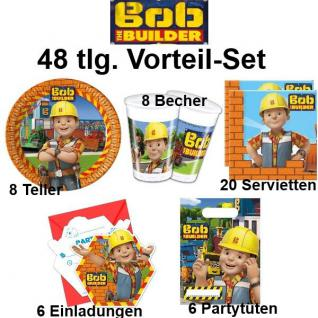 51 tlg. Spar-Set BOB DER BAUMEISTER Kinder Geburtstag Party Deko - Teller Becher
