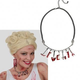Halskette Kette mit blutigen Anhängern Beil Säge usw. Kostüm Zubehör Halloween