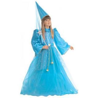 KINDER FEENKOSTÜM BLAU Größe 128 Karneval Mädchen Feen Elfe Kostüm Kleid 3896
