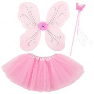 3tlg. Feen Kostüm Set - Rosa - Tüllrock Flügel Zauberstab - Schmetterling Set