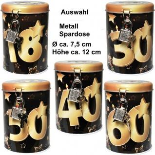 Metall Spardose Schwarz/Gold Sparbüchse Geburtstag Geldgeschenk 18 30 40 50 60