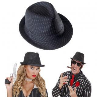 Premium Gangster Hut mit Nadelstreifen Fedora Hut Mafia -karneval Fasching #8680