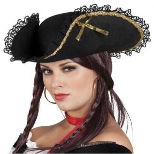 DREISPITZ PIRATIN HUT Fanny schwarz/gold -Piraten Kostüm Zubehör #81901