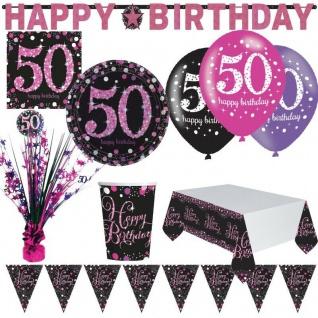 50. Geburtstag Jubiläum Feier Pink Schwarz Party Deko Set Zahl 50 - PREISHIT -