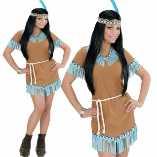 INDIANERINKOSTÜM Western Squaw Damen Kostüm Indianerin Indianer camel S M L XL
