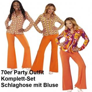 70er Jahre Damen SCHLAGHOSE + Bluse - orange Kostüm Disco Hippie Schlagermove