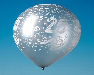"""15 LUFTBALLONS SILBER mit Druck """" 25"""" , Silber Hochzeit Party Deko"""