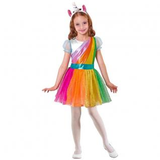 Mädchen Kostüm EINHORN - Kleid mit Haarreif - Kinder Tier Karneval 128 140 158