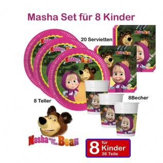 MASCHA & der BÄR Set 36 tlg. KINDER GEBURTSTAG Masha & The Bear Teller Becher