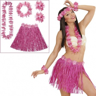 5-tlg.Set Hawaii Party Damen Hula Kostüm PINK mit Blumen-Kette Armbänder Rock