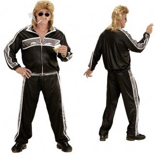 80er 90er JOGGINGANZUG XXL (56) schwarz-silber Kostüm Motto Party Trainingsanzug