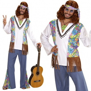 60er 70er Herren Hippie Kostüm M (50) Schlagermove Flower Power Woodstock Love