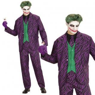 EVIL JOKER Herren Kostüm Gr. XL 52 Jacke Weste Hose Krawatte Halloween #314