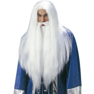 Langhaar Perücke Bart Weiß Hexer Zauberer Beschwörer Magier Greis Gandalf