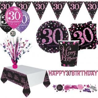 30. Geburtstag Party Dekoration mit Zahl 30 Deko Jubiläum Tisch Pink Schwarz