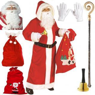 NIKOLAUS SET Weihnachtsmann Kostüm - Mantel Handschuhe Sack Glocke usw. AUSWAHL
