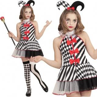 HARLEKIN Pierrot Kinder Mädchen Kostüm Clown - Kleid mit Minihut - Gr:116 -164